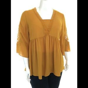 Catherine's top NWT size 2X babydoll blouse lace